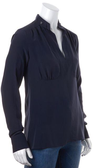 DEREK LAM 10 CROSBY Dark Navy Blue Long Sleeve Silk Blouse
