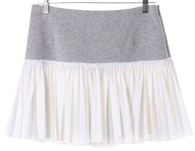DEREK LAM 10 CROSBY White Gray Colorblock Pleated Skirt