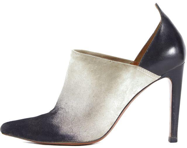DEREK LAM 10 CROSBY White Black Gradient Suede Mule Heels