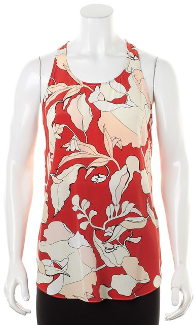 DEREK LAM 10 CROSBY Flamenco Pink Red White Floral Silk Tank Top Blouse