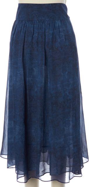 DEREK LAM 10 CROSBY Blue Silk Abstract Tie-Dye Pleated Full Skirt