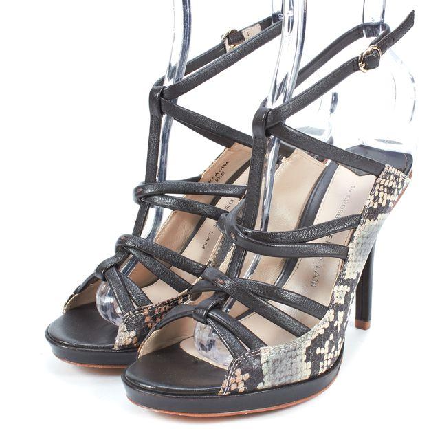 DEREK LAM 10 CROSBY Brown Leather Snakeskin T-Strap Sandal Heels