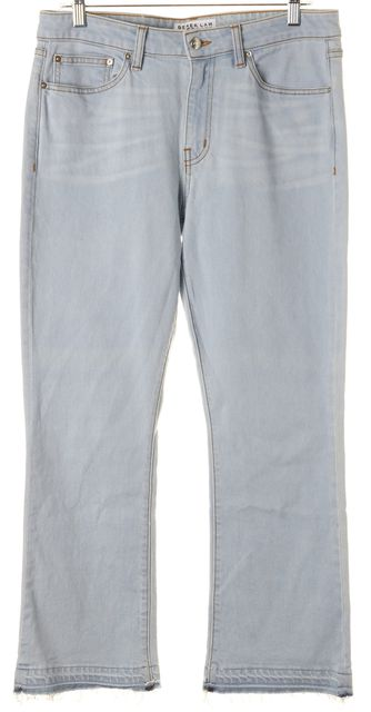 DEREK LAM 10 CROSBY Blue Stretch Cotton Gia Cropped Flare Jeans