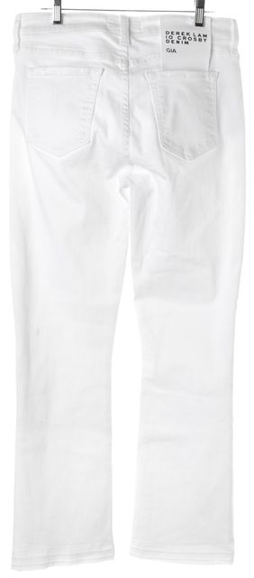 DEREK LAM 10 CROSBY White Gia Mid Rise Cropped Flare Jeans