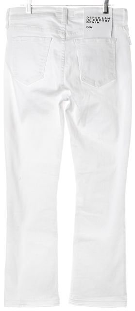 DEREK LAM 10 CROSBY White Denim Gia Mid Rise Cropped Flare Jeans