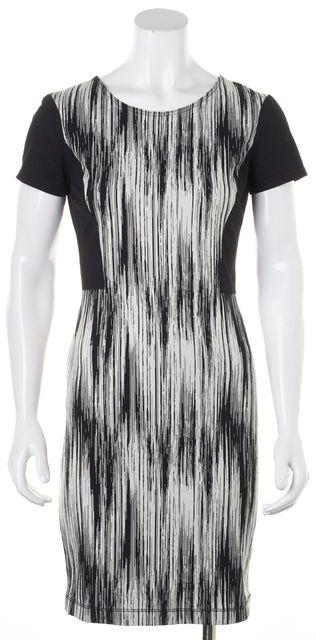 DEREK LAM 10 CROSBY Black White Abstract Short Sleeve Sheath Dress