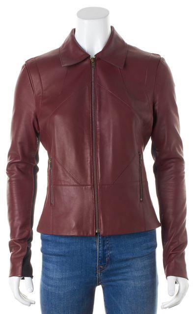 DEREK LAM 10 CROSBY Burgundy Black Color Block Leather Jacket
