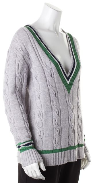 DEREK LAM 10 CROSBY Gray Green Wool Cable Knit V-Neck Sweater