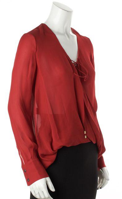 DEREK LAM 10 CROSBY Red Silk Plunge Neck Blouse