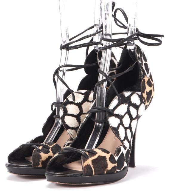 DEREK LAM 10 CROSBY Brown JARDIE PONYHAIR Open Toe Platform Sandals
