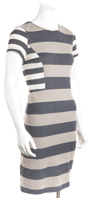 DEREK LAM 10 CROSBY Beige and Gray Multi-color Striped Bodycon Dress