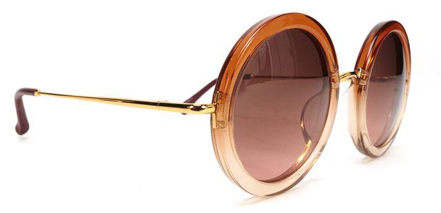LINDA FARROW X THE ROW Orange Acetate Gold Wire Round Sunglasses