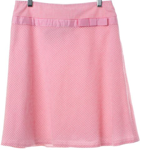 CYNTHIA CYNTHIA STEFFE Pink White Plaids & Checks A-Line Skirt