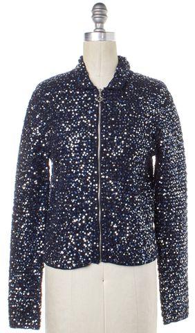 PINK TARTAN Blue Silver Sequin Embellished Sweater Jacket