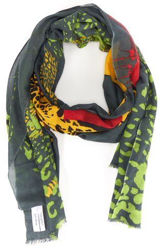 WE ARE OWLS Green Yellow Cashmere Silk Animal Print Sheer Long Scarf