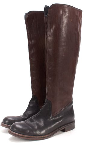 HENRY BEGUELIN Brown Black Leather Knee High Riding Boots