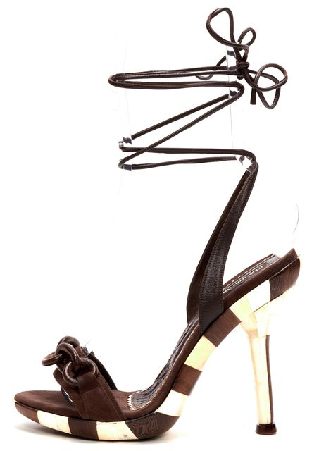 CLAUDIO MERAZZI Brown Embellished Suede Pump Sandals