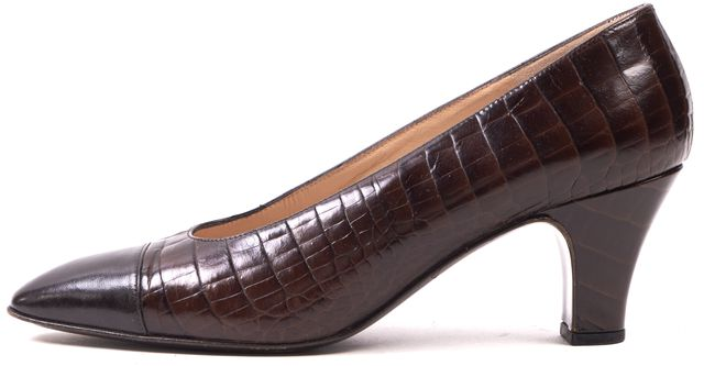 BRUNO MAGLI Brown Croc Embossed Leather Low Heel Pumps