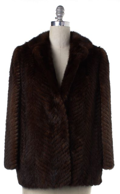 CUSTOM COAT CUSTOM Relined Brown Striped Fur Coat Fits Like