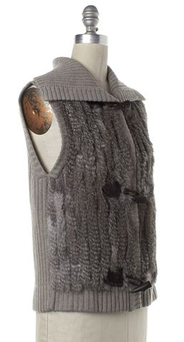 CHRISTOPHER FISHER Gray Rabbit Fur Wool Knit Top Vest