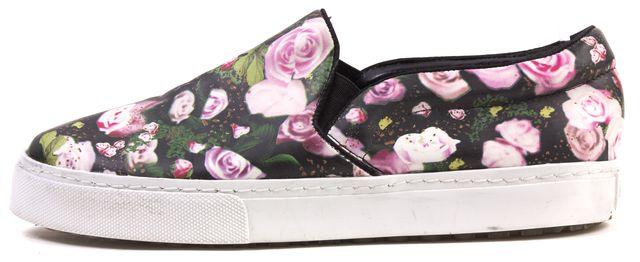 SCHUTZ Black Floral Print Slip-on Sneakers Fit Like