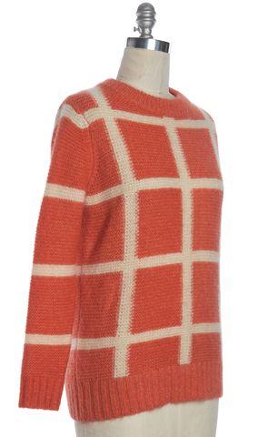 ORLA KIELY Orange Ivory Check Mohair Silk Wool Chunky Crewneck Sweater