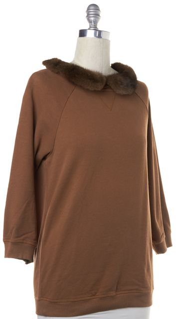 ERIKA CAVALLINI Brown Fur Peter Pan Collar Pullover Sweater