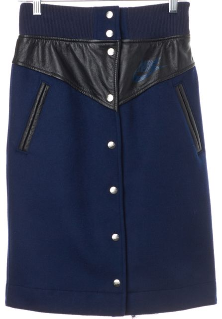 NIKE X SACAI Navy Blue Wool Black Leather Button Front Pencil Skirt