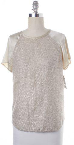 3.1 PHILLIP LIM Ivory Metallic Embellished Short Sleeve Blouse Top Size 4