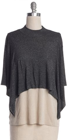 3.1 PHILLIP LIM Gray Beige Metallic Layered Knit Top Size M