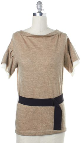 3.1 PHILLIP LIM Beige Metallic Belted Short Sleeve Wool Knit Top Size S