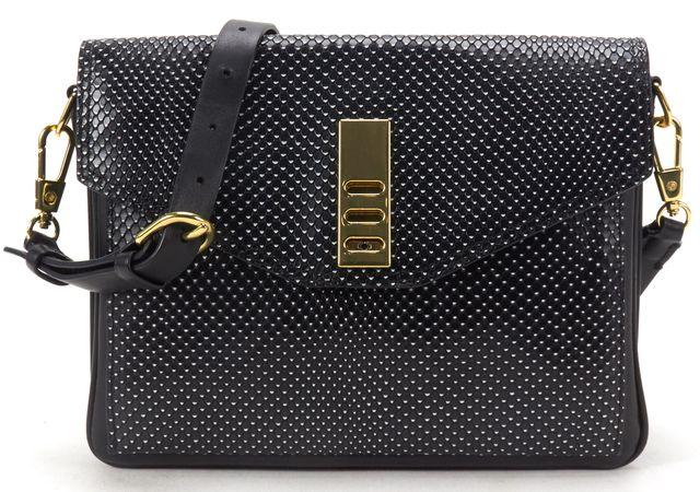 3.1 PHILLIP LIM Black Snake Embossed Leather Racer Double Flap Crossbody Bag