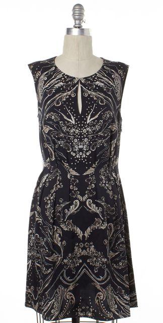3.1 PHILLIP LIM Black Beige Abstract Silk Sleeveless Sheath Dress