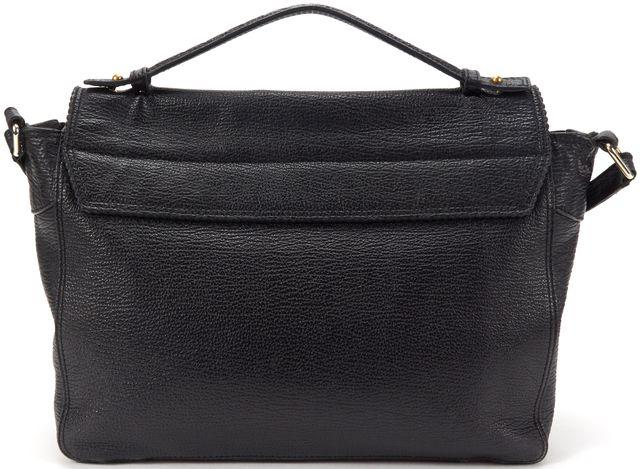 3.1 PHILLIP LIM Black Texture Leather Gold Tone Hardware Expandable Satchel
