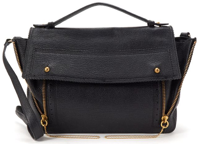3.1 PHILLIP LIM Black Texture Leather Gold Tone Hardware Expandable Satchel