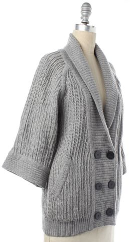 3.1 PHILLIP LIM Gray Wool Cable Knit Cardigan Size XS