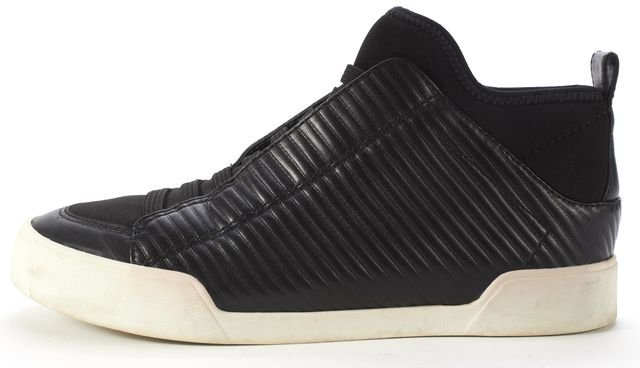 3.1 PHILLIP LIM Black Quilted Leather Neoprene High Top Sneakers Size 38