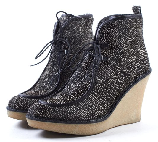3.1 PHILLIP LIM Black Beige Pony Hair Wedge Ankle Booties