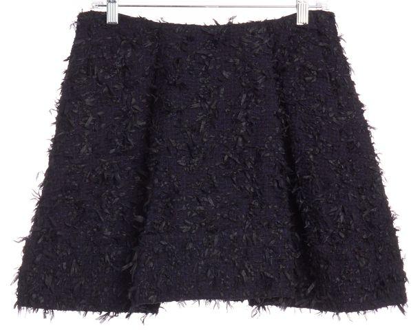 3.1 PHILLIP LIM Navy Blue Black Tweed Pleated A-Line Skirt Size 6