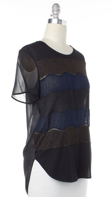 3.1 PHILLIP LIM Black Blue Lace Striped Top