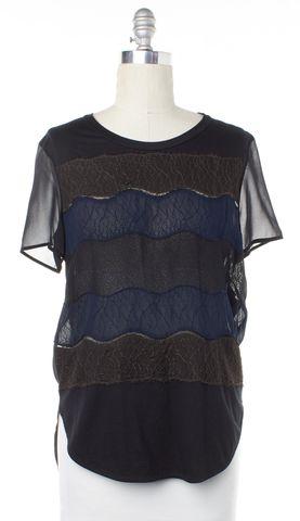 3.1 PHILLIP LIM Black Blue Lace Striped Top Size 4