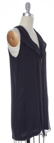 3.1 PHILLIP LIM Gray Zip Sleeveless V Neck Silk Shift Dress Size 2