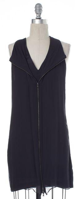 3.1 PHILLIP LIM Gray Zip Sleeveless V Neck Silk Shift Dress
