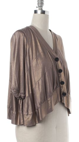 3.1 PHILLIP LIM Gold Pink Silk Button Down Cardigan Size M