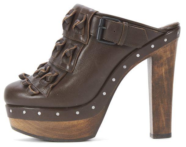3.1 PHILLIP LIM Brown Leather High Heel Platform Slide On Clogs Mules Size 39