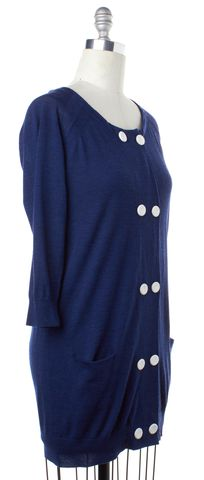 3.1 PHILLIP LIM Blue Wool 3/4 Sleeve Tunic Cardigan Size M