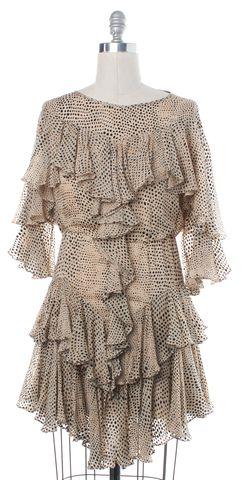 3.1 PHILLIP LIM Beige Polka Dot Silk Blouson Dress Size 2