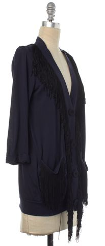 3.1 PHILLIP LIM Navy Blue Black Button Down Fringe Cardigan Size XS