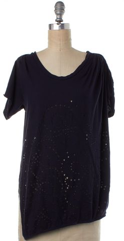 3.1 PHILLIP LIM Navy Blue Perforated T-Shirt Size S