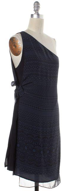 3.1 PHILLIP LIM Blue Black Geometric Silk One Shoulder Dress